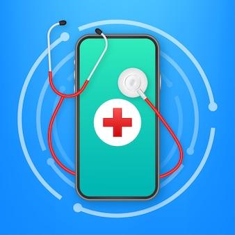 Online-docton-smartphone für medizinisches design. gesundheitswesen, medizinischer dienst krankenhausarzt. gesundheitswesen, medizin. vektorgrafik auf lager