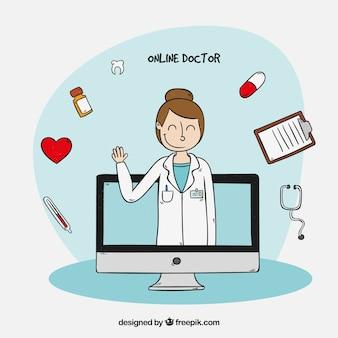 Online-doktor-konzept mit ärztin