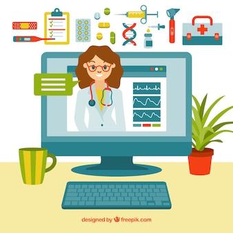 Online-doktor-konzept mit elementen