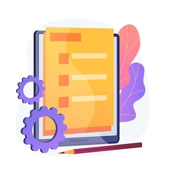 Online-dokumentformular. digitale vereinbarung, elektronischer vertrag, internet-fragebogen. beachten sie die aufgabenliste. stimmzettel, umfrage flaches gestaltungselement.