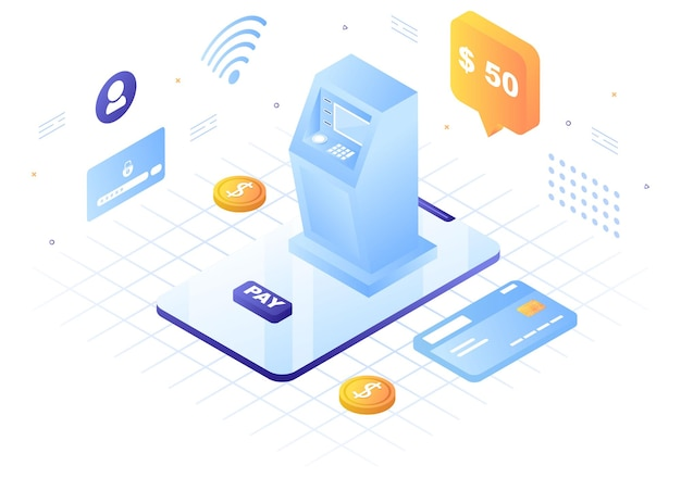 Online-e-banking-app, brieftasche oder bankkreditkarten-vektorillustration mit technologie, datenschutz und zahlungssicherheit für digitale zahlungen über smartphones