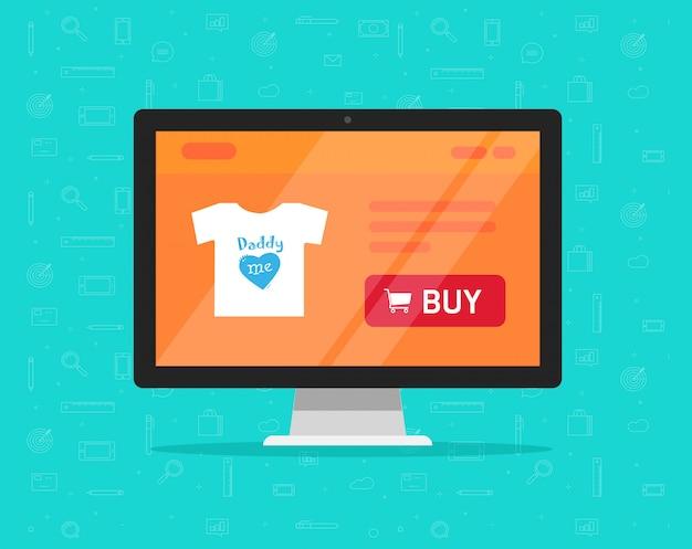 Online-e-commerce-shop oder digitales internet-shop auf computer-bildschirm-stil