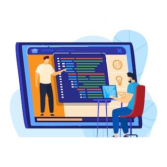 Online-e-learning-service, winzige männliche charakter-studie im internet-netzwerk isoliert auf weiß, cartoon-illustration. lehrer lehren wissen.