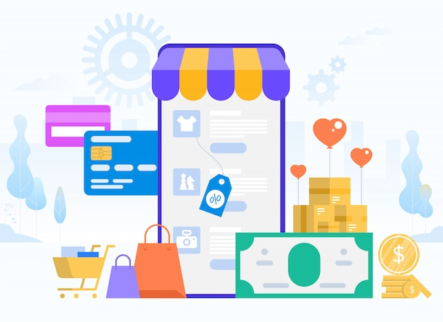 Online-einkauf und lieferung von einkäufen. e-commerce-vertrieb