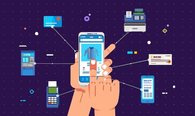 Online-einkauf und zahlungsmethode mit smartphone