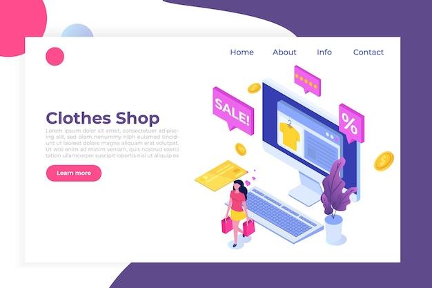 Online-einkauf von kleidung, e-commerce-verkauf, digitales marketing.