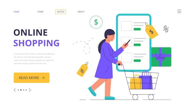 Online einkaufen. eine frau kauft in einem online-shop ein. landing webseitenvorlage.