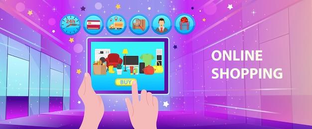 Online einkaufen. einkaufszentrum mit geschäften, ikonen und lkw. symbol