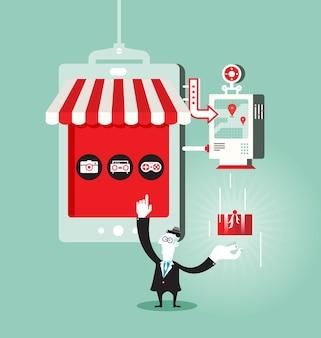 Online einkaufen - geschäftskonzept