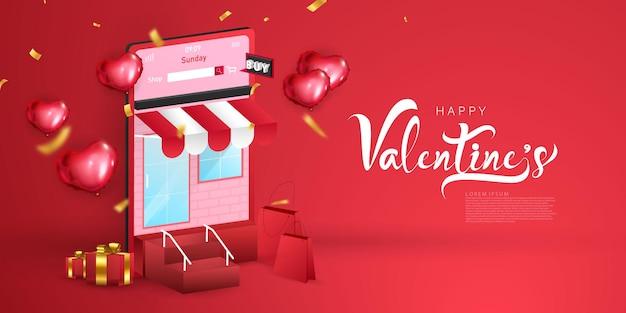Online einkaufen. happy valentinstag banner