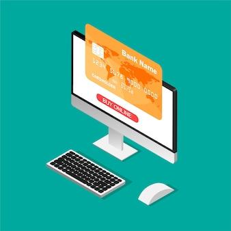 Online einkaufen. kreditkarte auf einem computerbildschirm im isometrischen stil. bleib zu hause konzept.