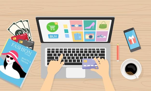 Online einkaufen mit bargeld und kreditkarte für den kunden
