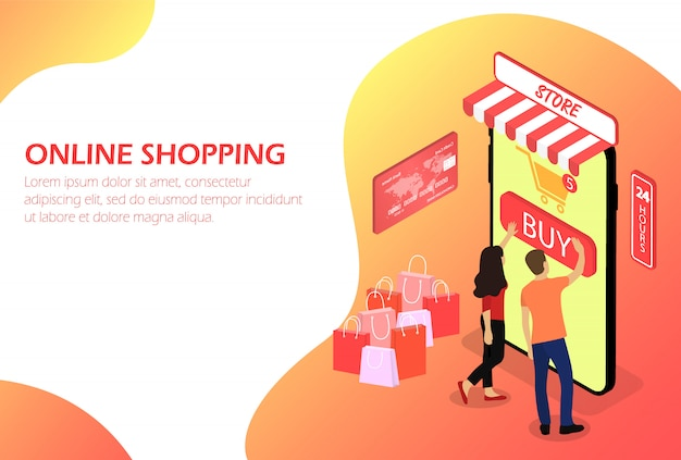 Online einkaufen. online-shop. menschen. isometrisch.