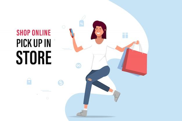 Online einkaufen und in der ladenillustration abholen