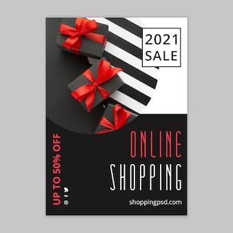 Online-einkaufs- und verkaufsflyer-vorlage