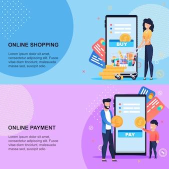 Online-einkaufs- und zahlungsservice am handy-set