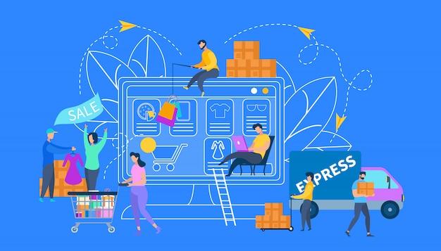 Online-einkaufs-, verkaufs- und lieferservice.