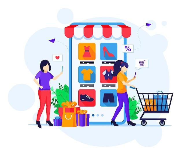 Online-einkaufskonzept, junge frauen mit einkaufswagen, die produkte in der flachen vektorillustration des mobilen anwendungsspeichers kaufen