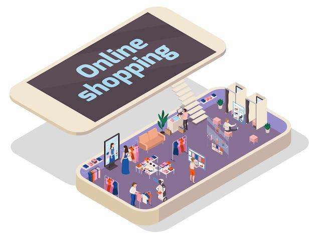 Online-einkaufskonzept mit isometrischer illustration des modegeschäfts