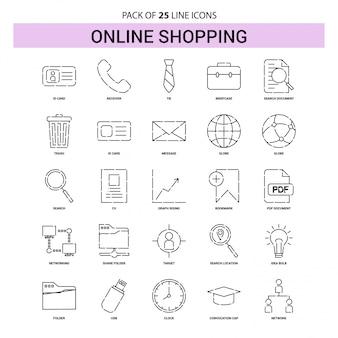 Online-einkaufslinie-ikonen-satz - 25 gestrichelte entwurfs-art