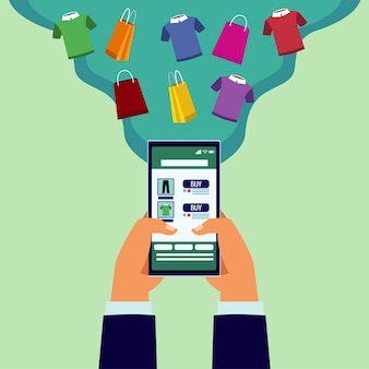 Online-einkaufstechnologie mit händen unter verwendung der smartphone- und hemdenillustration