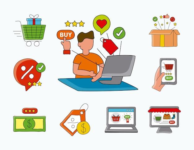 Online-einkaufstechnologie mit mann unter verwendung der desktop- und satzikonenillustration