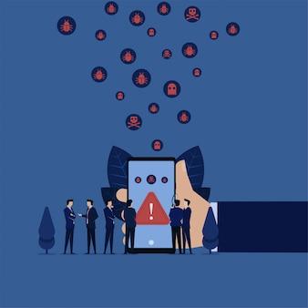 Online entdeckter business mobile-virus und team besprechen, wie er entfernt werden kann.