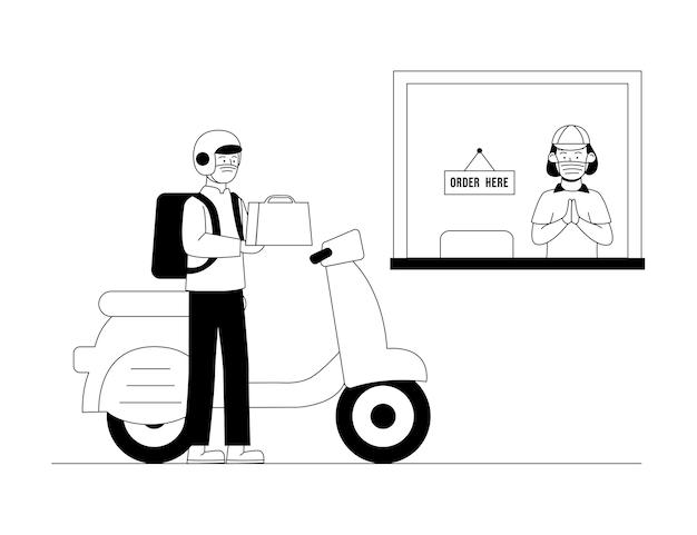 Online-fahrer, der lebensmittel für die kundensicherheitsbestellung kauft