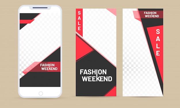 Online-fashion-weekend-app im smartphone mit verschiedenen anwendungen