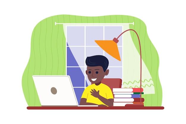 Online-fernstudium. der junge lernt mit einem computer online von zu hause aus. zurück zum schulkonzept. vektorillustration in einem flachen stil.