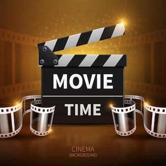 Online-film- und fernsehvektorhintergrund mit kinoscharnierventil und filmstreifen. klappe für f