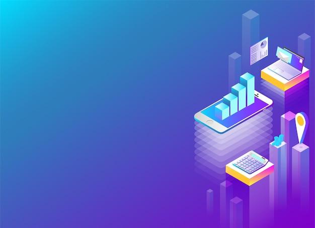 Online-finanzdienstleistung und apps abstrakte isometrische darstellung auf blauem hintergrund