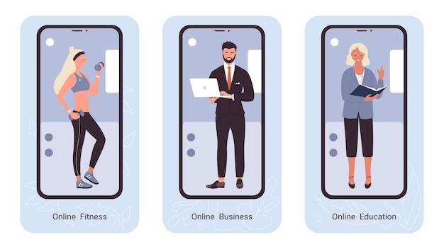 Online-fitness-business-ausbildung professionelle menschen ux ui mobile app seite bildschirm gesetzt