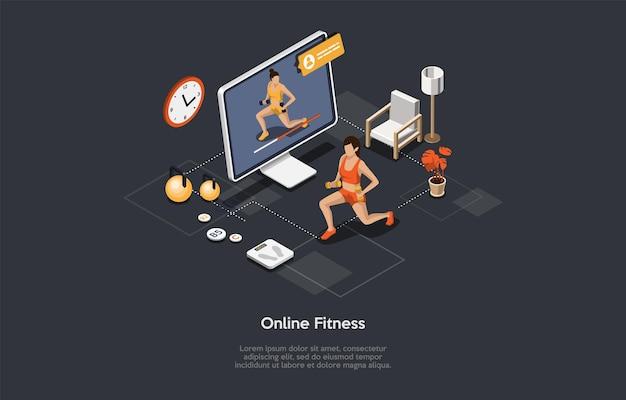 Online fitness und gymnastik video sport trainingsstrategie fernunterricht mit personal trainer Premium Vektoren