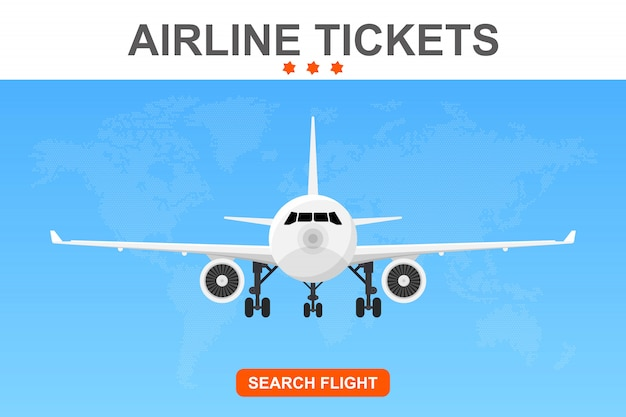 Online flug buchung banner illustration
