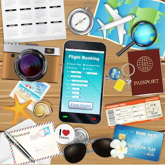 Online flugbuchungs app mit vielen reiseobjekten