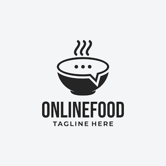 Online-food-logo-idee mit schüssel- und bubble-chat-symbol