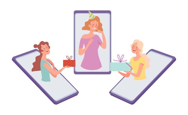 Online-geburtstagsfeier. mädchen gratulieren freund, internetkommunikation. frau gibt geschenkvektorillustration. computerkommunikation und gemeinsames feiern online