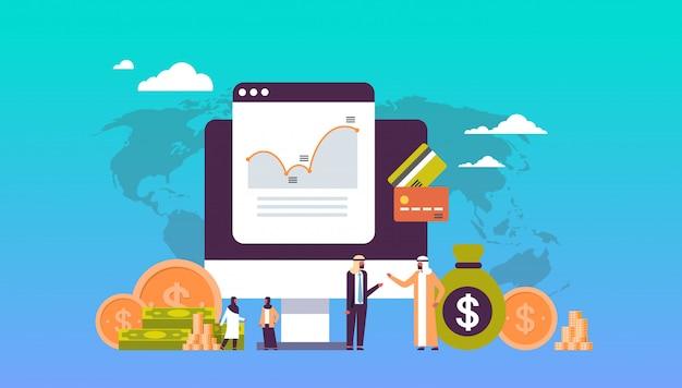 Online-geld-konzept mit arabischen menschen
