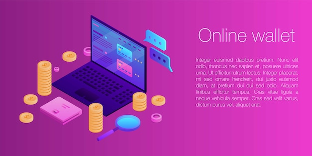 Online-geldbörsenkonzeptfahne, isometrische art
