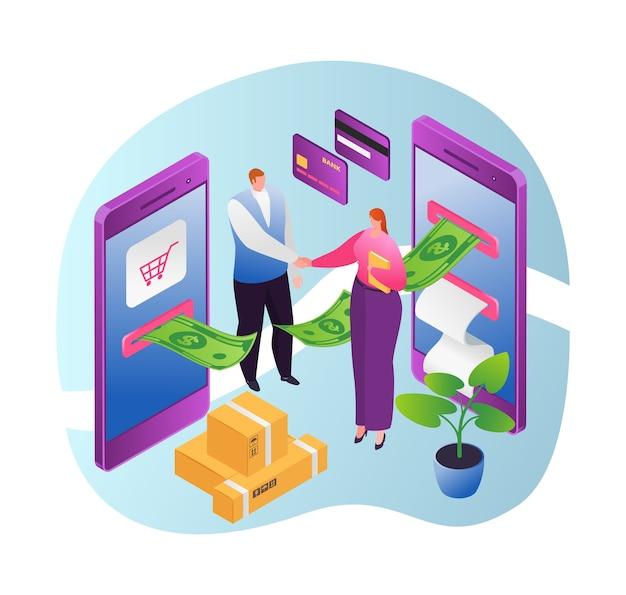 Online-geldtransaktion, internet-banking und mobile zahlungen mit dem smartphone. cash-technologie, online-banking. zahlungsmethoden. finanzielle elektronische geldtransaktionen.