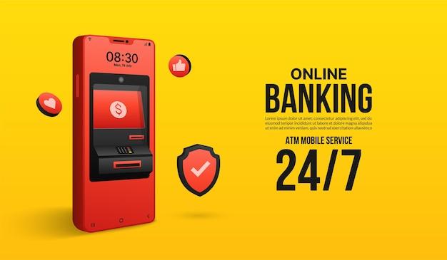 Online-geldtransfer am geldautomaten und digitaler zahlungsservice über das mobile banking-konzept für mobiltelefon