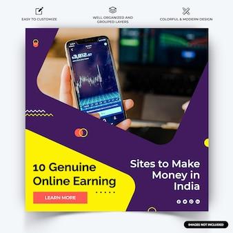 Online-geldverdienen instagram post web-banner-vorlagenvektor premium-vektor