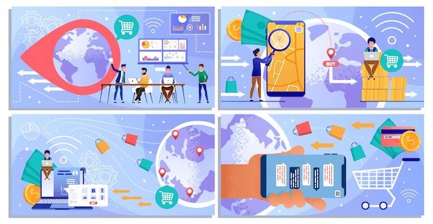 Online-geschäft handel und versand cartoon set
