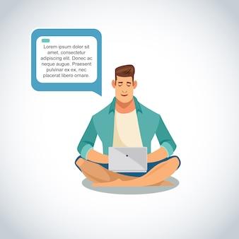 Online-geschäft promo mit dem mann, der laptop-vektor verwendet