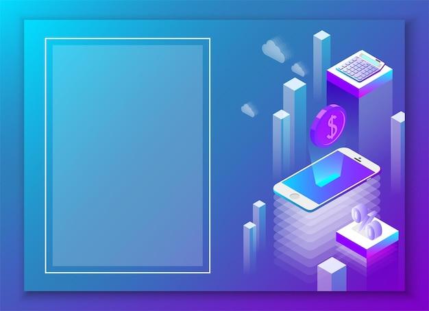 Online-geschäft und mobile app blauer hintergrund zielseite oder präsentationsvorlage