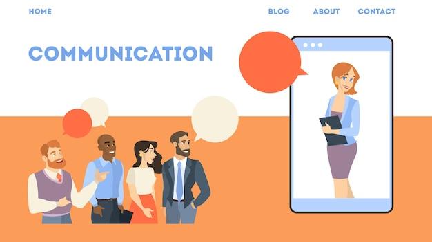 Online-geschäftskonferenz. idee der virtuellen kommunikation