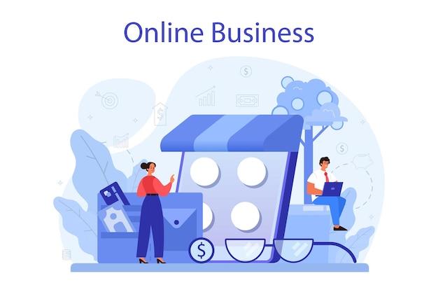 Online-geschäftskonzept. menschen, die im internet ein geschäft gründen. e-commerce, idee des digitalen verkaufs auf der website, moderne technologie.