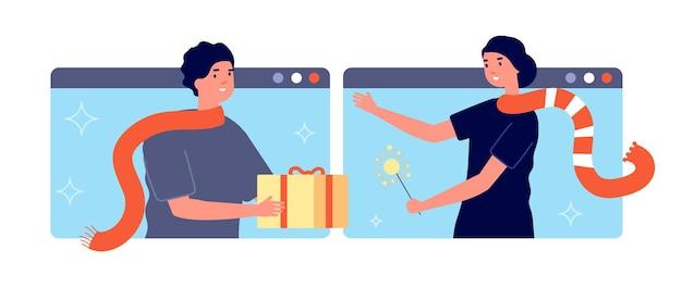 Online-geschenk. mann gibt anwesende frau, überraschungsservice. web urlaub weihnachten festlich, internationale lieferung. entfernte paketversand-vektor-illustration. geschenk online-geschenk, überraschungsbox oder treue