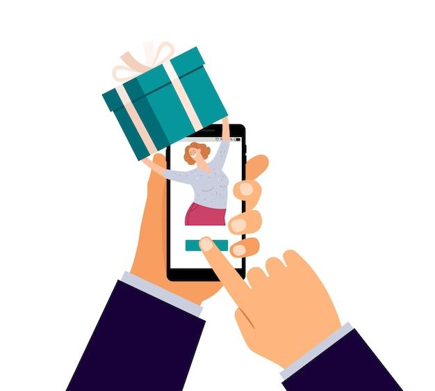 Online-geschenkbestellung. mobile präsentiert app, glückliche frau mit urlaubsbox. hand, die telefon-, liefer- oder treueprogrammvektorillustration hält